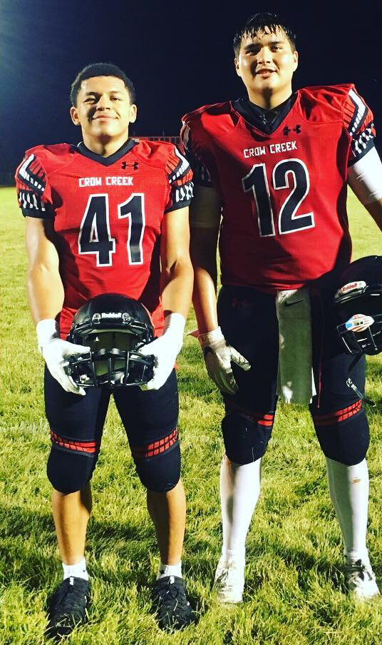 - The boys from Crow Creek are looking TUFF as heck. On Friday it was a 50-0 win over Marty Indian as the Chieftains improved to 2-0..Thus far they've outscored the opposition 104-0.Izaiah Sorace has been chewing up yards, TD's and other teams…..Last week 177 yards rushing and 3 TD's.His counterpart in the picture, Teron Sazue had 11 tackles, 1 fumble recovery and 1 interception.(DAYUM for both of these guys)