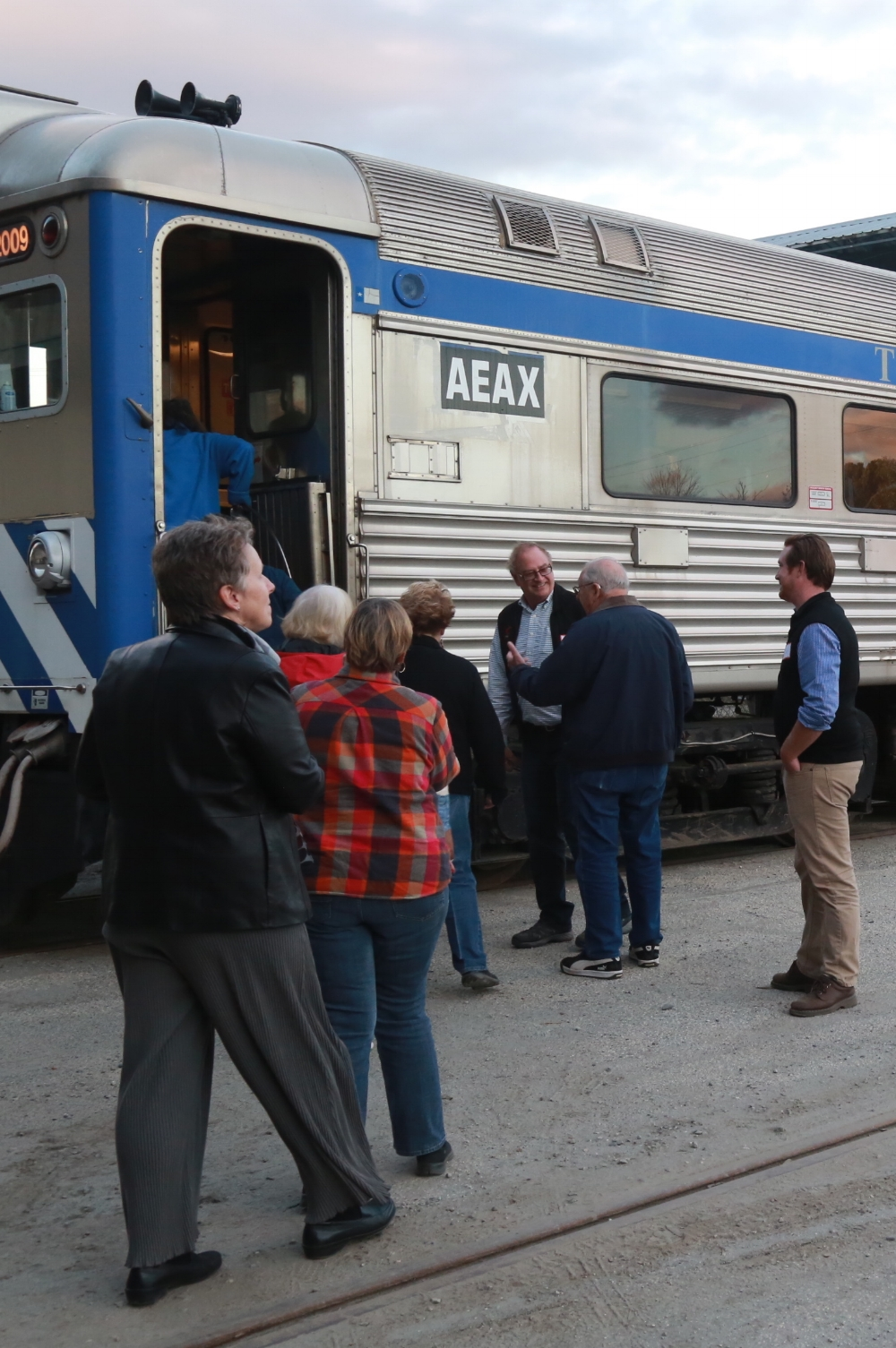 David Blittersdorf welcoming passengers aboard one of AllEarth Rail's Budd cars in October  Photo: Julie Campoli