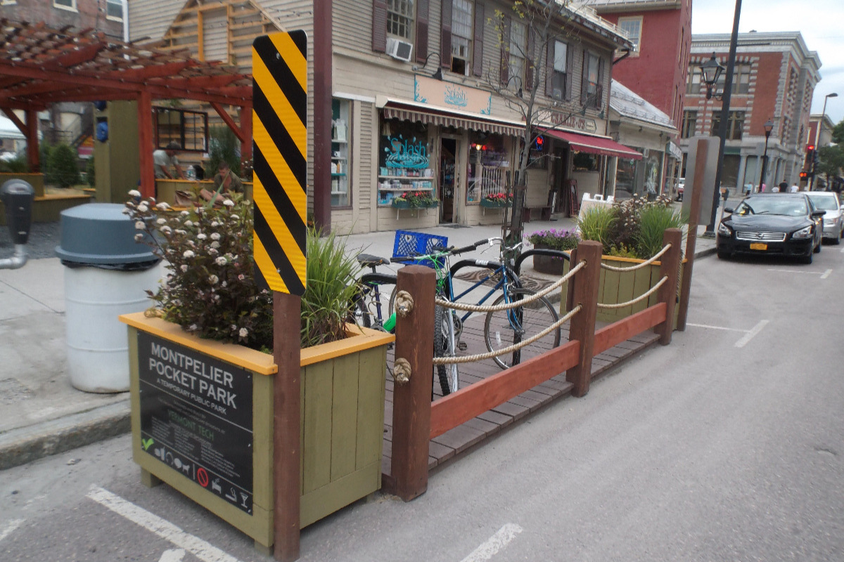 Downtown bike parking parklet in Montpelier, with convenient access to shops, restaurants and workplaces  Photo: Local Motion