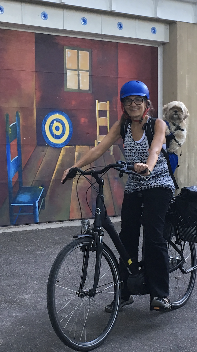 Bren and her dog, Rojas, heading to the office.
