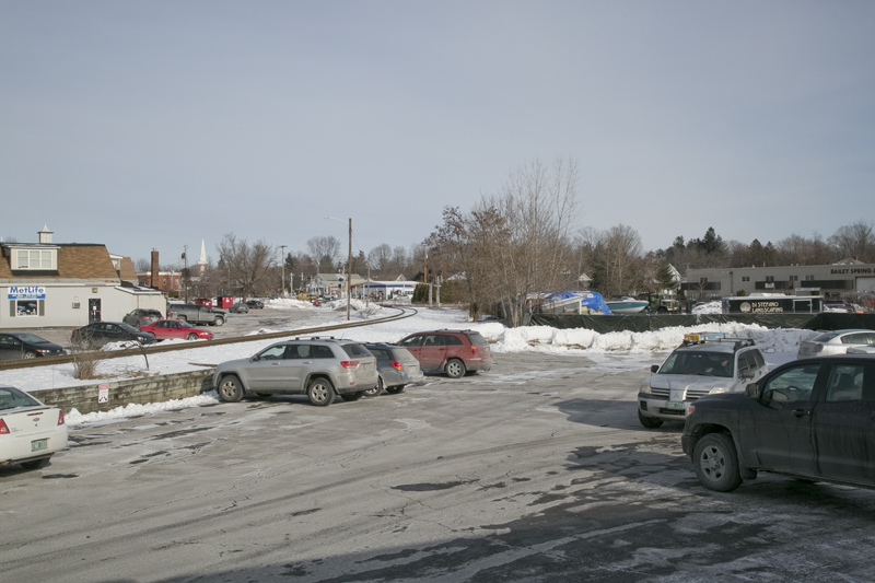 Essex Junction's intersecting railroads create barriers but also opportunities. Land along one rail right-of-way will host a connecting street and many empty parcels can be redeveloped intensively in a pedestrian-friendly pattern. Photo: Julie Campoli