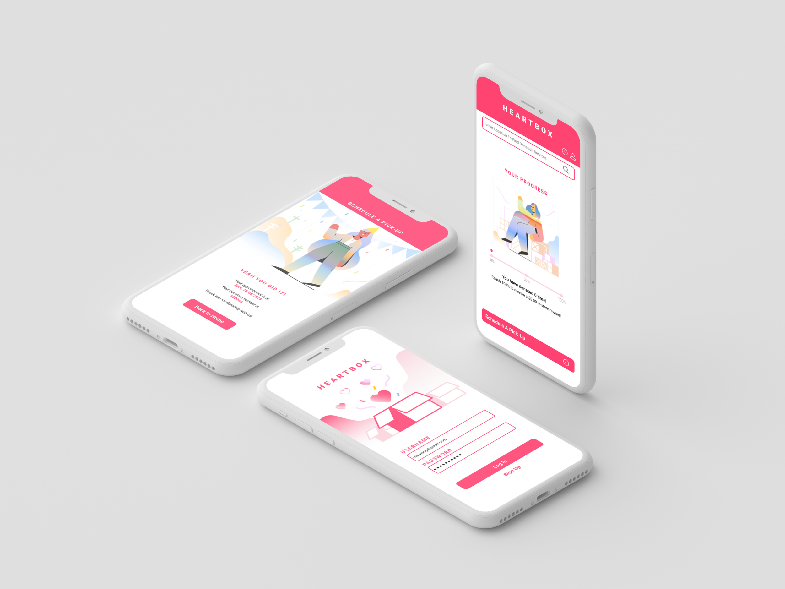 Heartbox - UX | UI DesignA mobile platform that helps to make clothes donation easier.