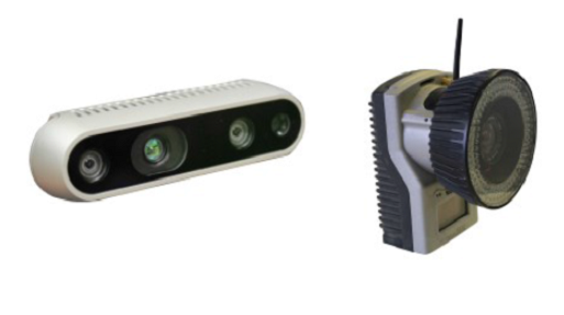 RGB-D cameras & Motion Capture System   For sensing the object to be grasped we use RGB-D cameras such as the Intel RealSense D435. We also have a Qualisys Motion Capture System with six Oqus 301 cameras.