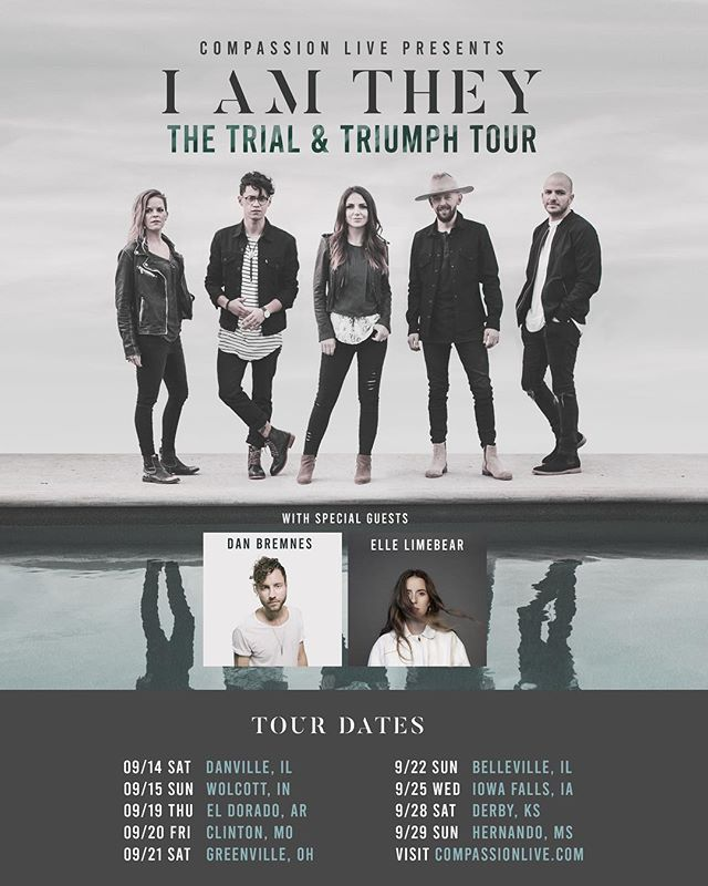 "BIG NEWS! Announcing our first headlining tour! The Trial & Triumph Tour will be coming to you this fall, presented by Compassion LIVE! You're invited to an evening of uniting in worship, along with our friends and special guests @danbremnes and @elle_limebear! Tickets go on sale tomorrow (6/21), but you can get your pre-sale tickets NOW at compassionlive.com.  Just text ""IAMTHEY"" to 888111 to receive the special pre-sale code today!"