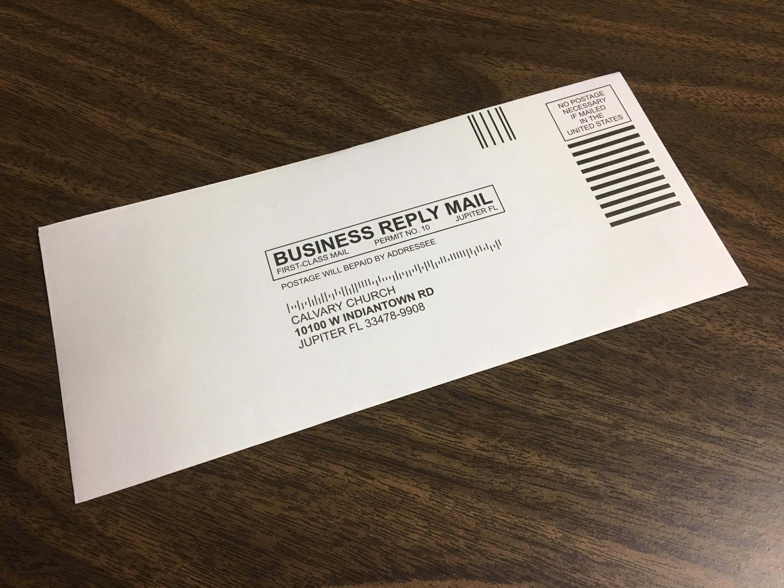 Drop it in the Mail - All tithe envelopes offer prepaid mailing. Guests can mail any tithe or offering to the church directly. No postage necessary.