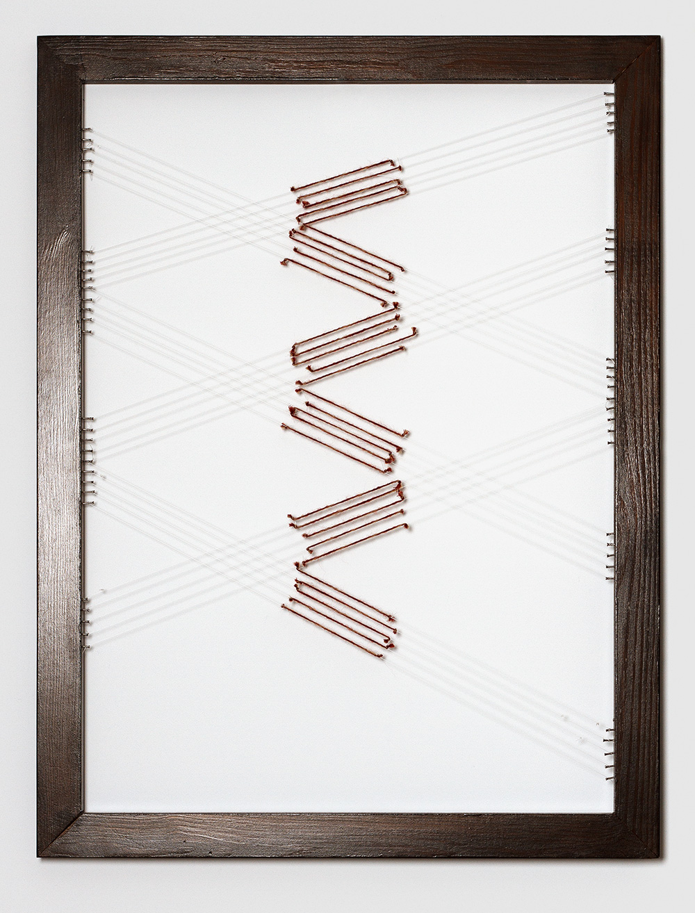 Adia Wahid   Drawing with Thread  II, 2012  Wooden Frame, Yarn, Plastic Thread, Nails  80cm x 60cm