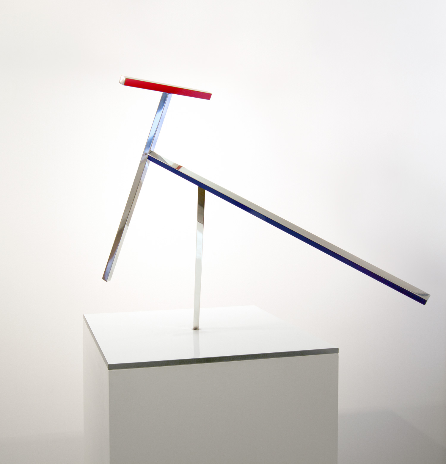 Daniel Chadwick   4 Bar Boogie no.1 , 2017  Polished aluminium, coloured vinyl, bearings, motor, gearbox, spring, timer  59 x 58 cm (at rest)
