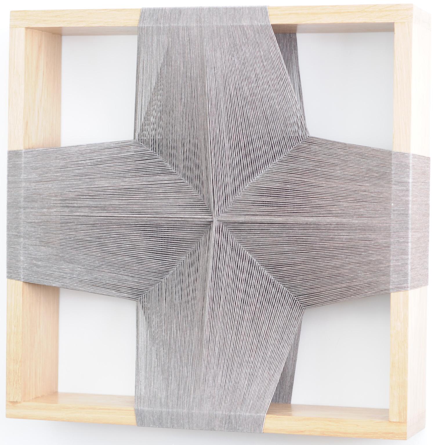 Maryrose Watson  'Feather Series 4', 2012  Cotton and viscose on European oak  50cm x 50cm x 12cm