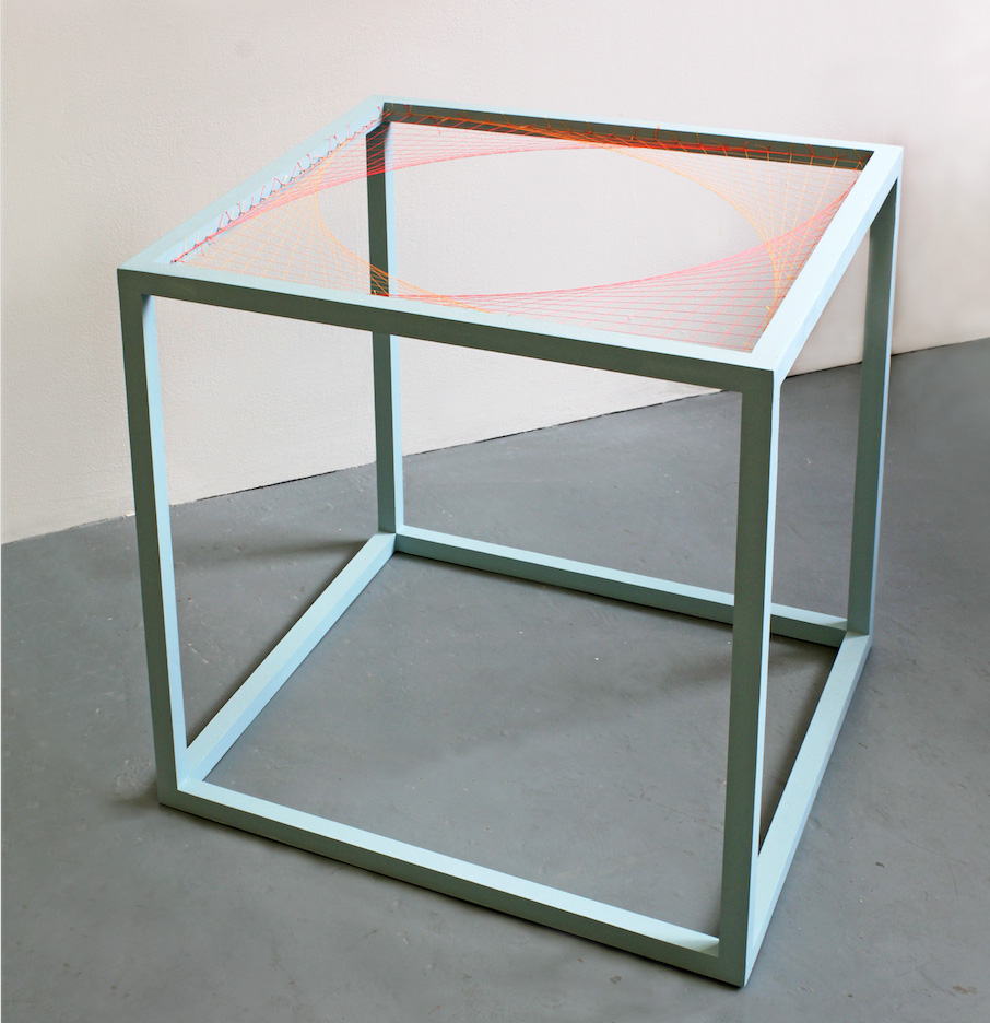 Kate Terry  '505050', 2014  painted wood, thread, pins  50 x 50 x 50 cm