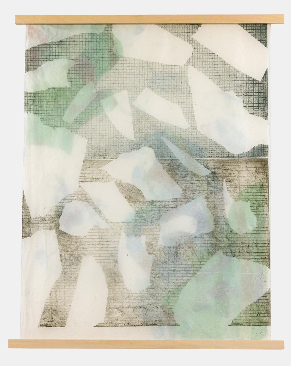 Jasmine Garrett   Masking Time , 2016 Etching and Digital  Transfer Monotype 45.5cm x 61cm