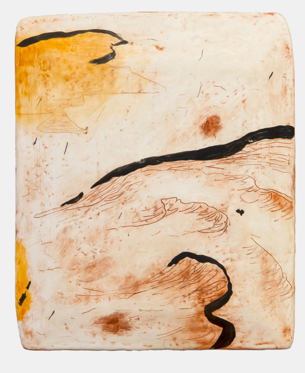 Nina Royle   Evening Tide , 2017  Ink, oil & shellac on a wood and gesso panel  22cm x 19cm