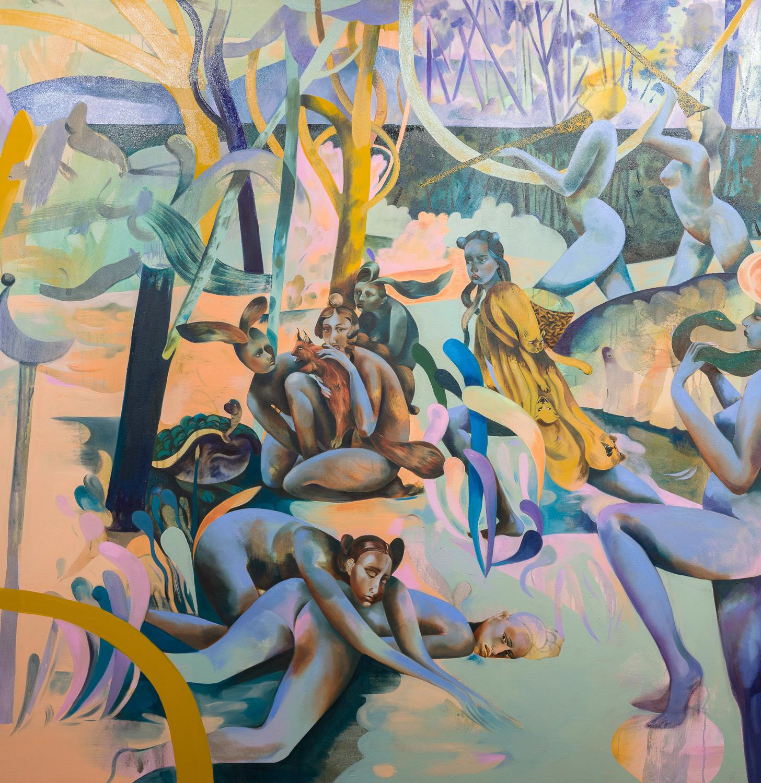 Jessie Makinson   Through The Lattice Step Lightly , 2018  Oil on canvas  175 x 170 cm