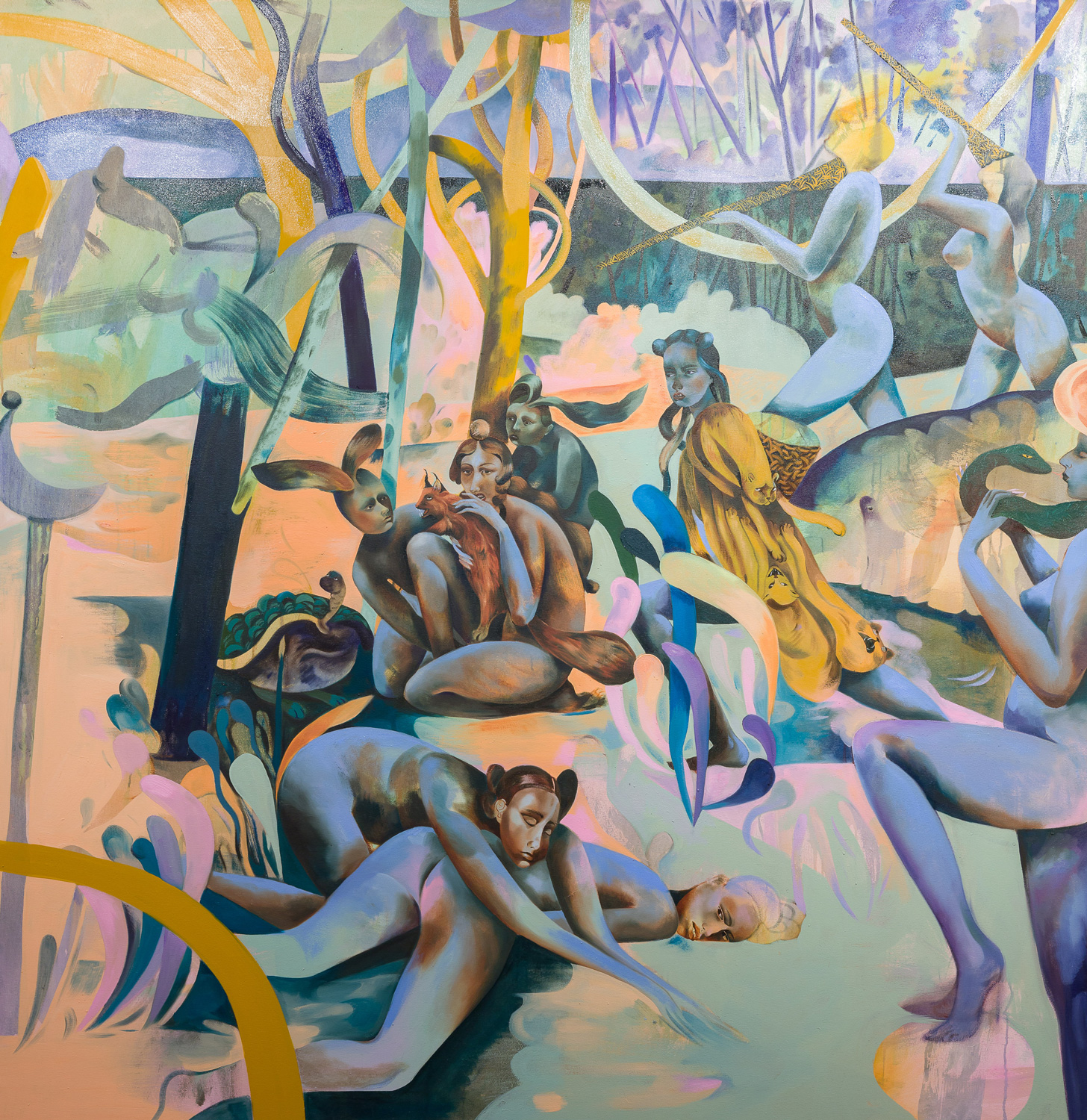 Jessie Makinson   Through The Lattice Step Lightly , 2018  Oil on canvas  175 x 170 cm
