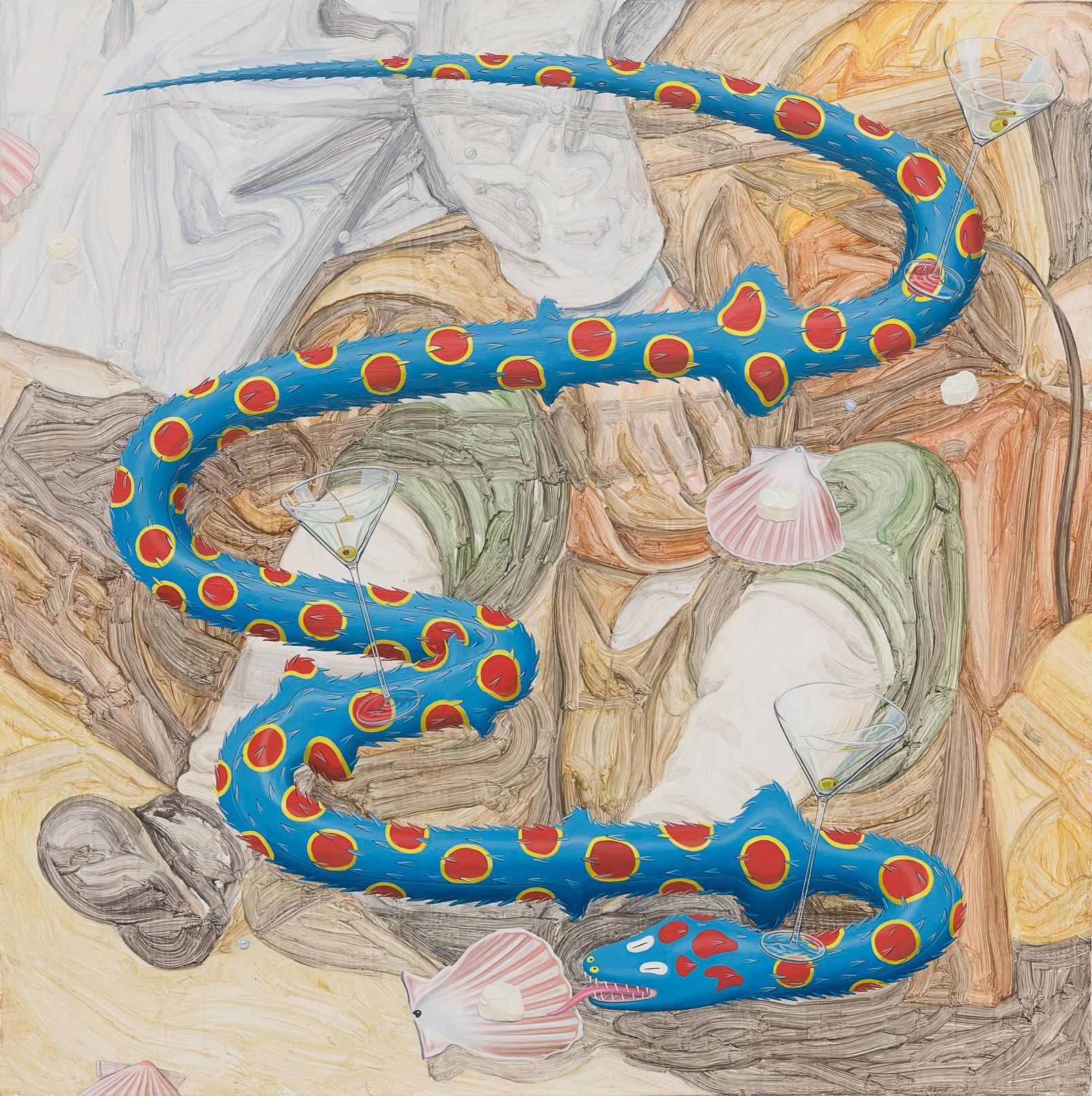 Tristan Pigott  Scallop Wars- Martini Glass, Scallop Eating, Pearl Shitting Snake, 2018 Oil on board 36 x 36 cm