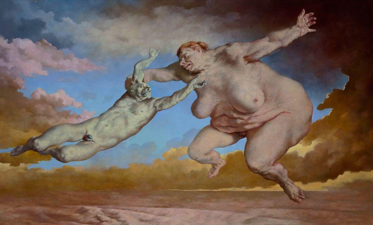 Sasha Okun  Big Woman Beating A Man,  2012 Oil on board 183 x 301 cm