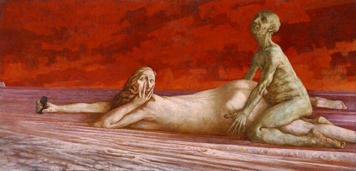 Sasha Okun  Breaking News  2001-2004 Oil on board 122 x 252 cm