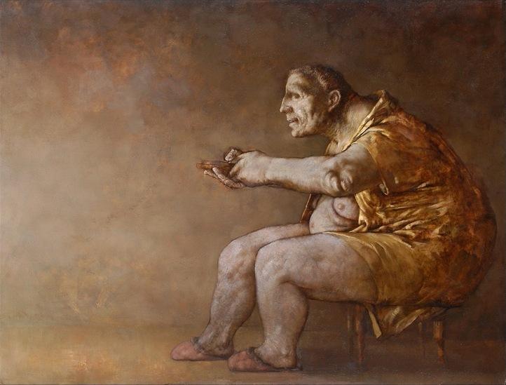 Sasha OKun  Breaking News , 2001 - 2004 Oil on board 122 x 180 cm