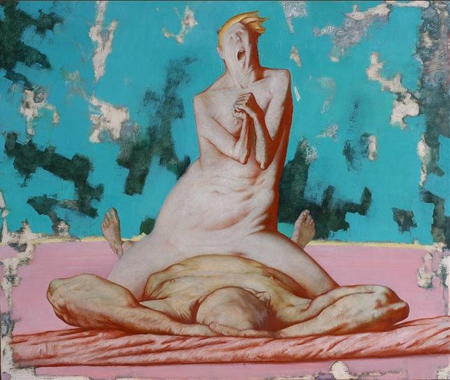 Sasha Okun  Breaking News,  2001 - 2004 Oil on board 110 × 122 cm
