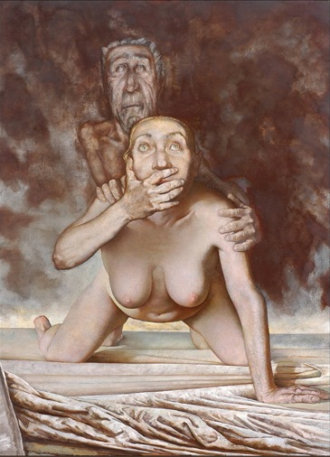 Sasha Okun Breaking News, 2001 - 2004 Oil on board 160 x 122 cm