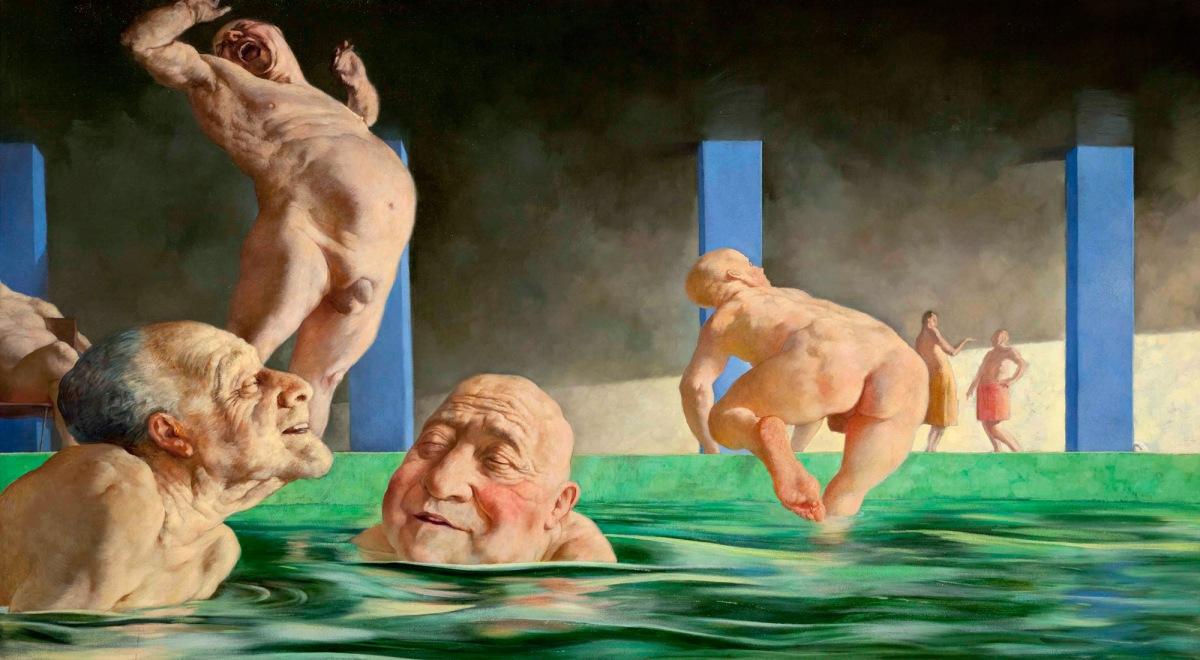 Sasha Okun  Bathing at Hamat Ha Gade r, 2012 Oil on board 38.5 x 244 cm
