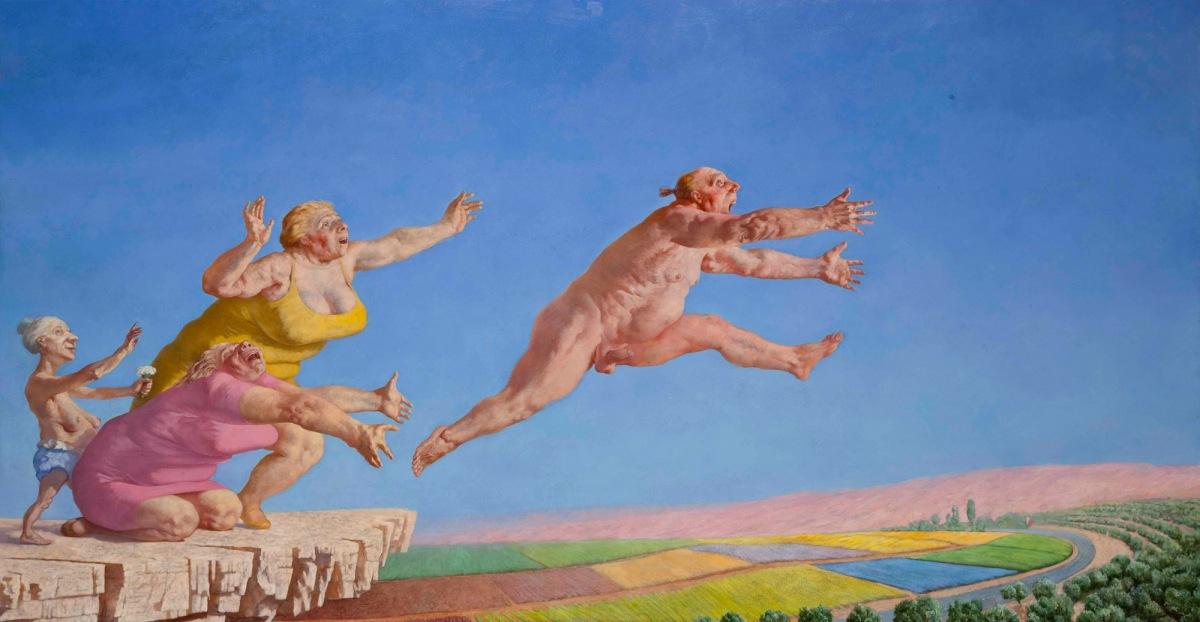 Sasha Okun  Successful Escape,  2008-2012 Oil on board 159 x 301 cm