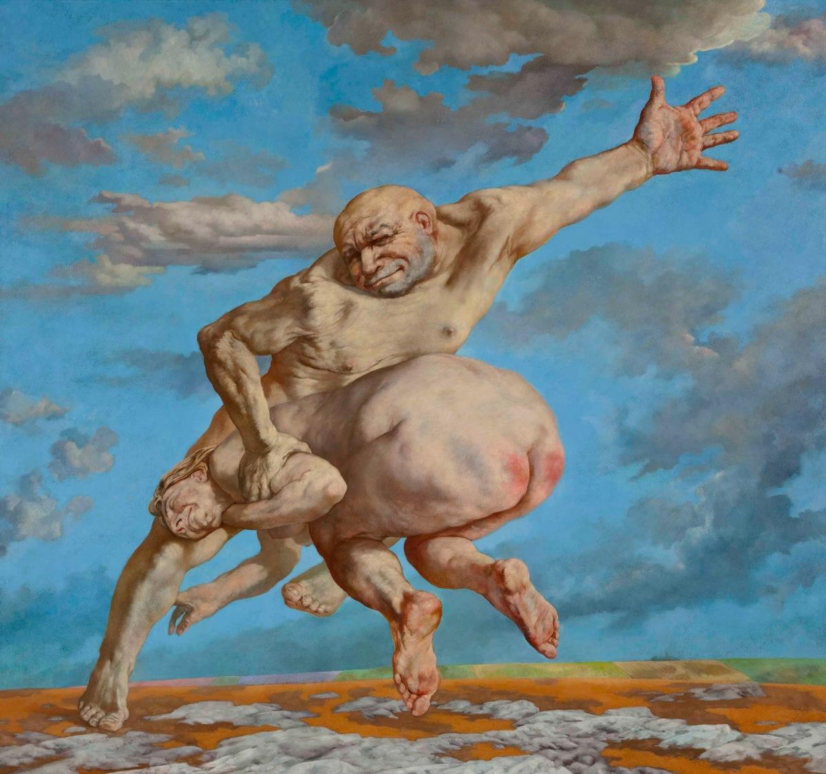 Sasha Okun  A Man and a Woman , 2008 - 2012 Oil on board 196.5 x 209 cm