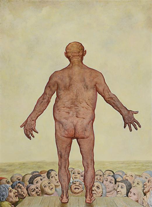 Sasha Okun  Ecce Homo , 2013-2017 Oil on board 200 x 146 cm