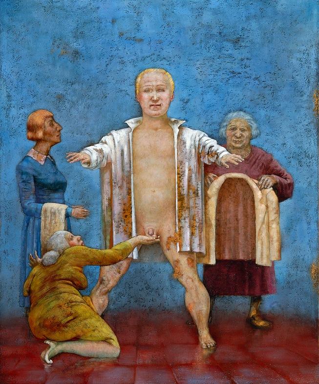 Sasha Okun  Groom's Toilette , 2007 Oil on board 123 x 103 cm