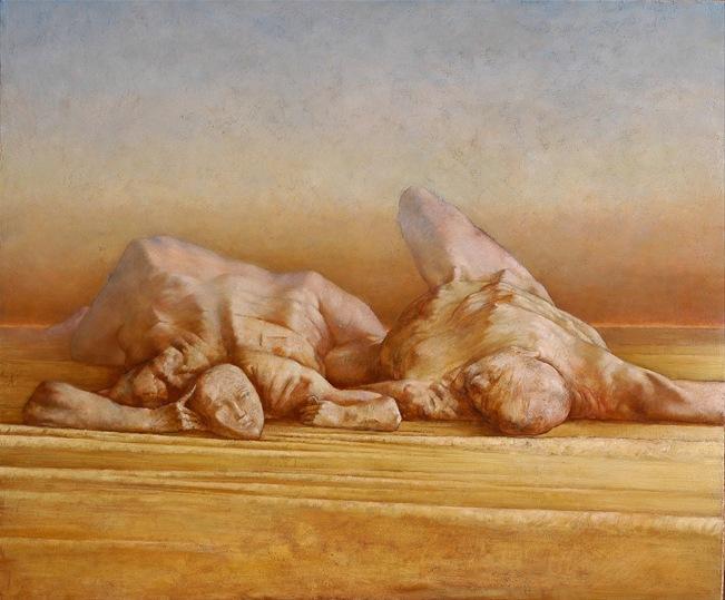 Sasha Okun  Breaking News,  2001-2004 Oil on board 100 x 122 cm