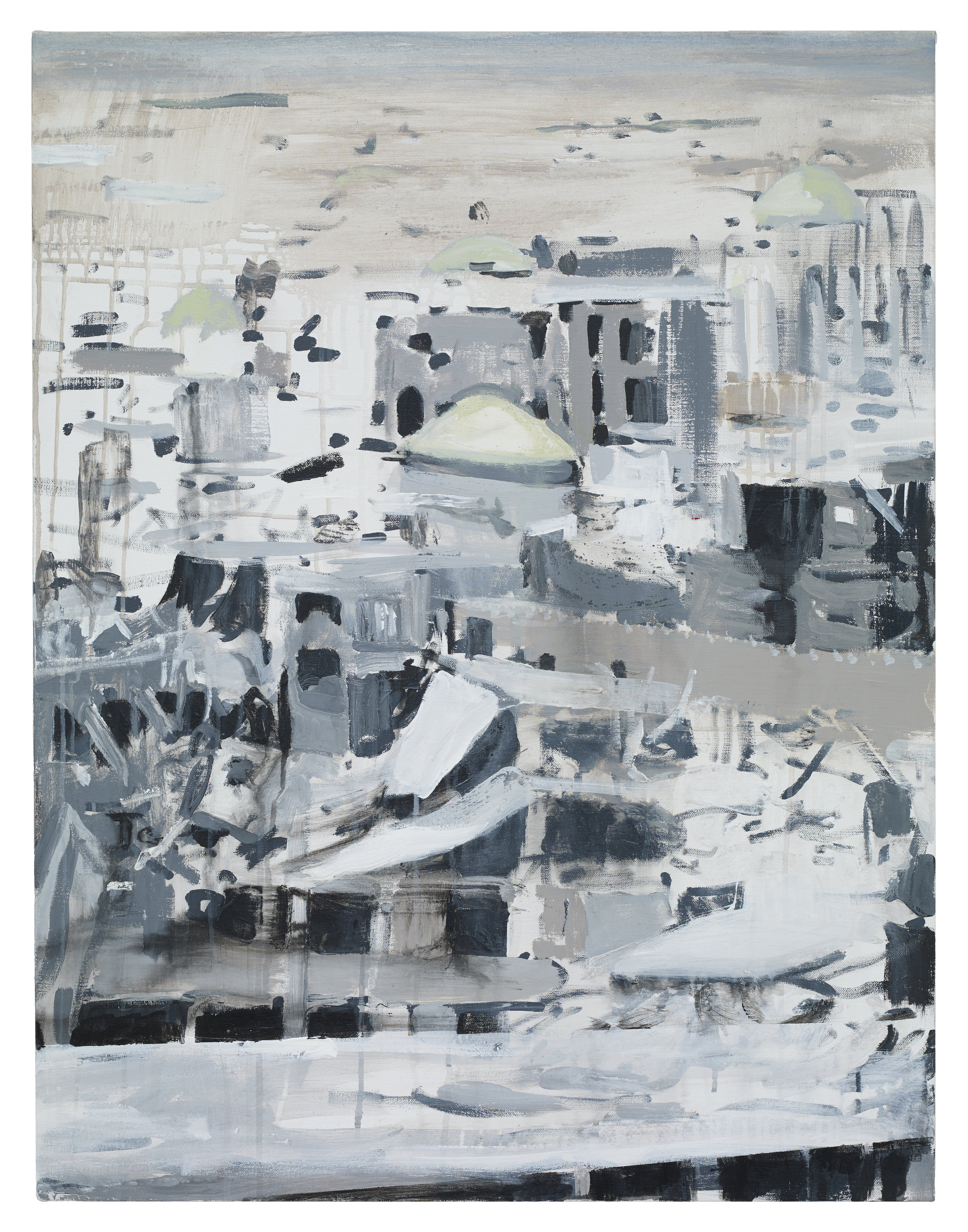 Brian Maguire  War Changes Its Address: Mosul , 2019 Acrylic on linen 100 x 81 cm
