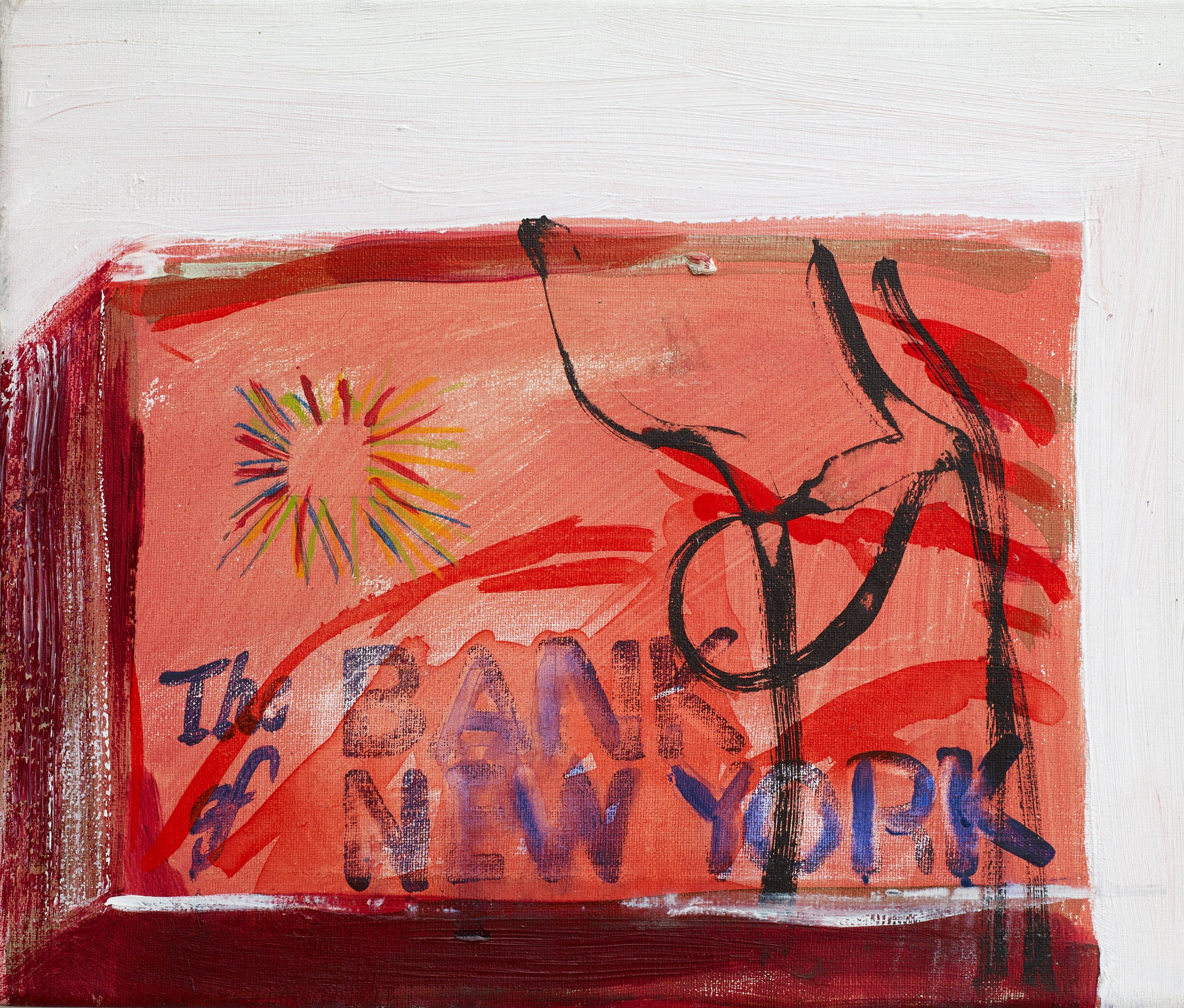 Brian Maguire  Cocaine Laundry Series, The Bank of New York , 2016 Acrylic on canvas 26 x 30 cm