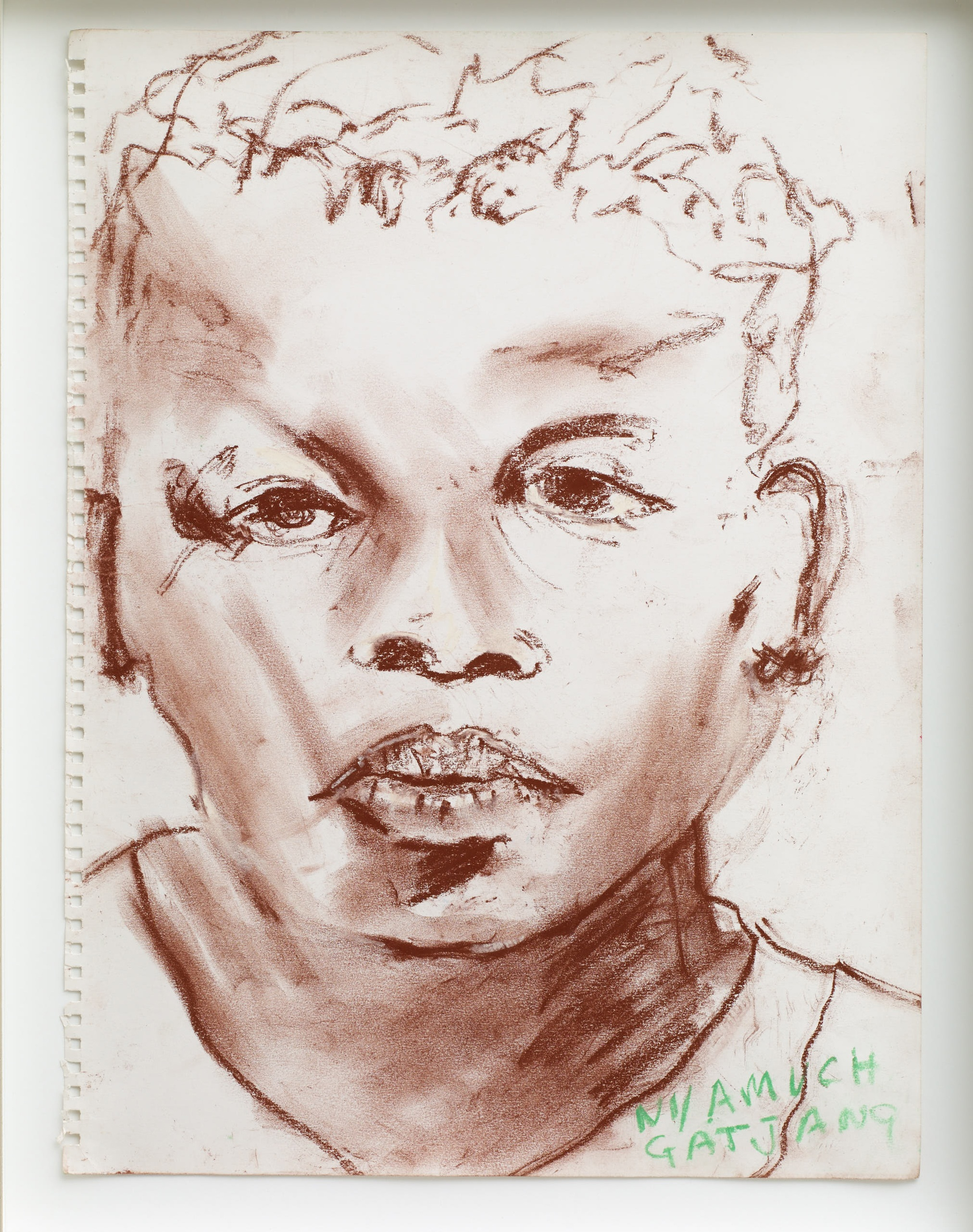 Brian Maguire  Citizens of the Newest Country in the World, Nyamuch Gatjang , 2018 Chalk on paper 40 x 30 cm