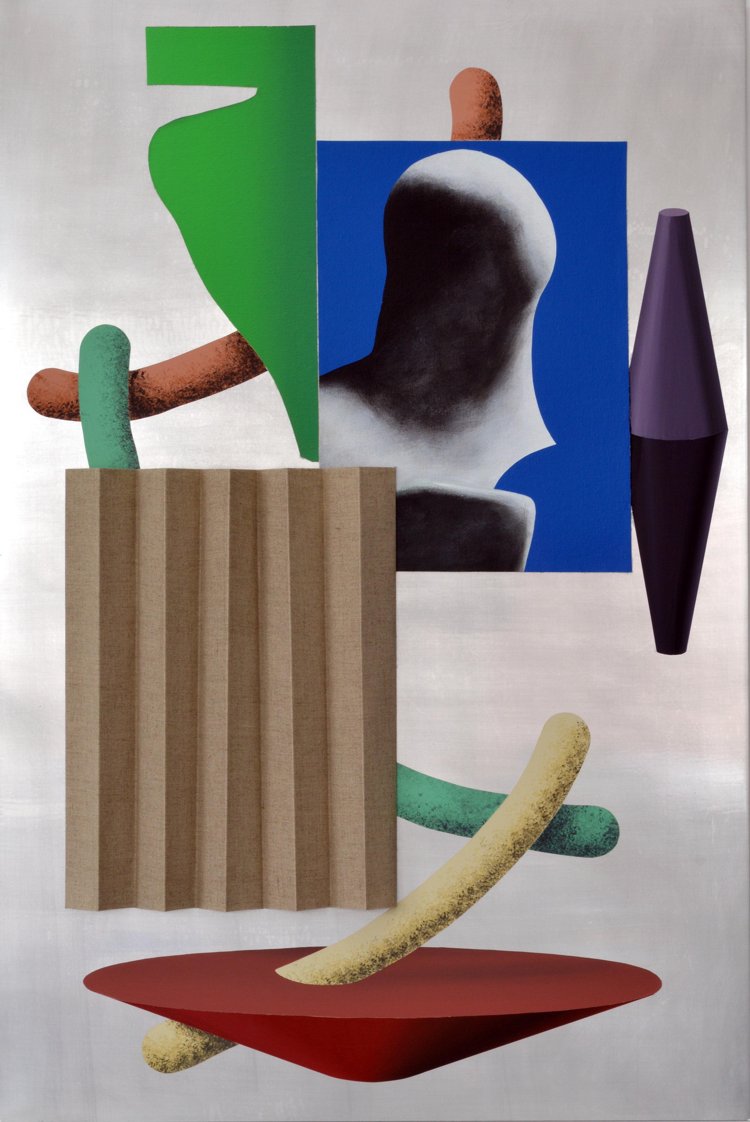 Lee Marshall  Divider , 2015 Acrylic, canvas and folded linen on aluminium 50 x 75 cm