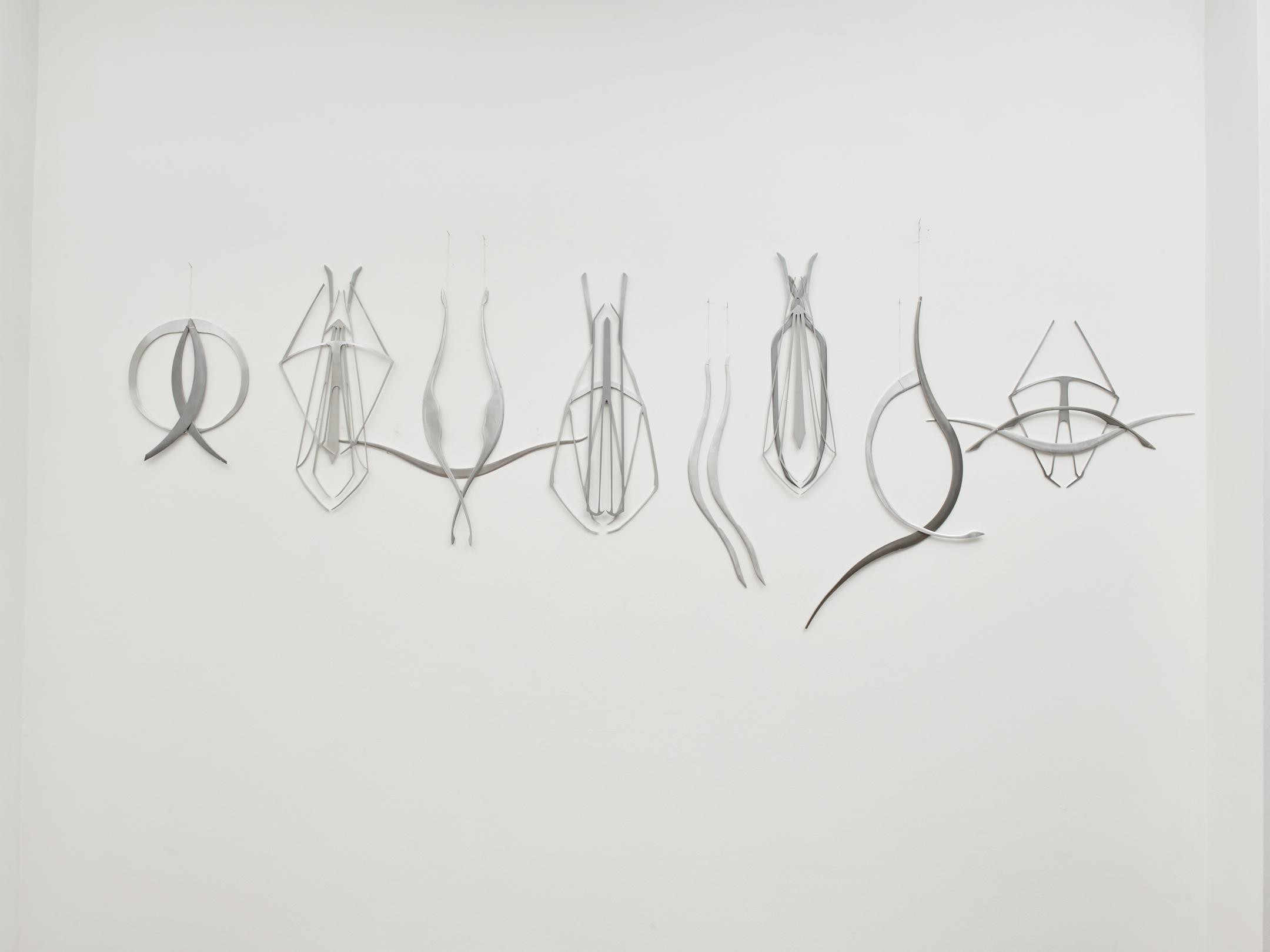 Miriam Austin  Solanum (Sequence for Pietroassa) , 2018 Aluminium, steel, wax, silk thread 270 x 45 x 2.5 cm