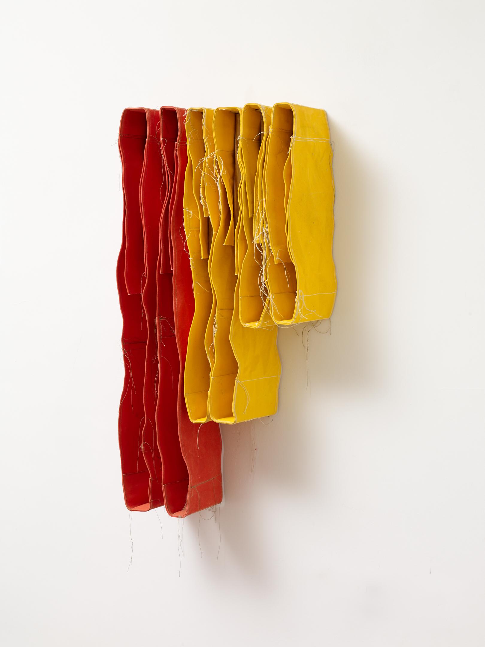 Simon Callery  3 Step Yellow & Orange Wallspine 4Y2O , 2018 Canvas, distemper, thread and steel brackets, 6 parts 80 x 30 x 20 cm