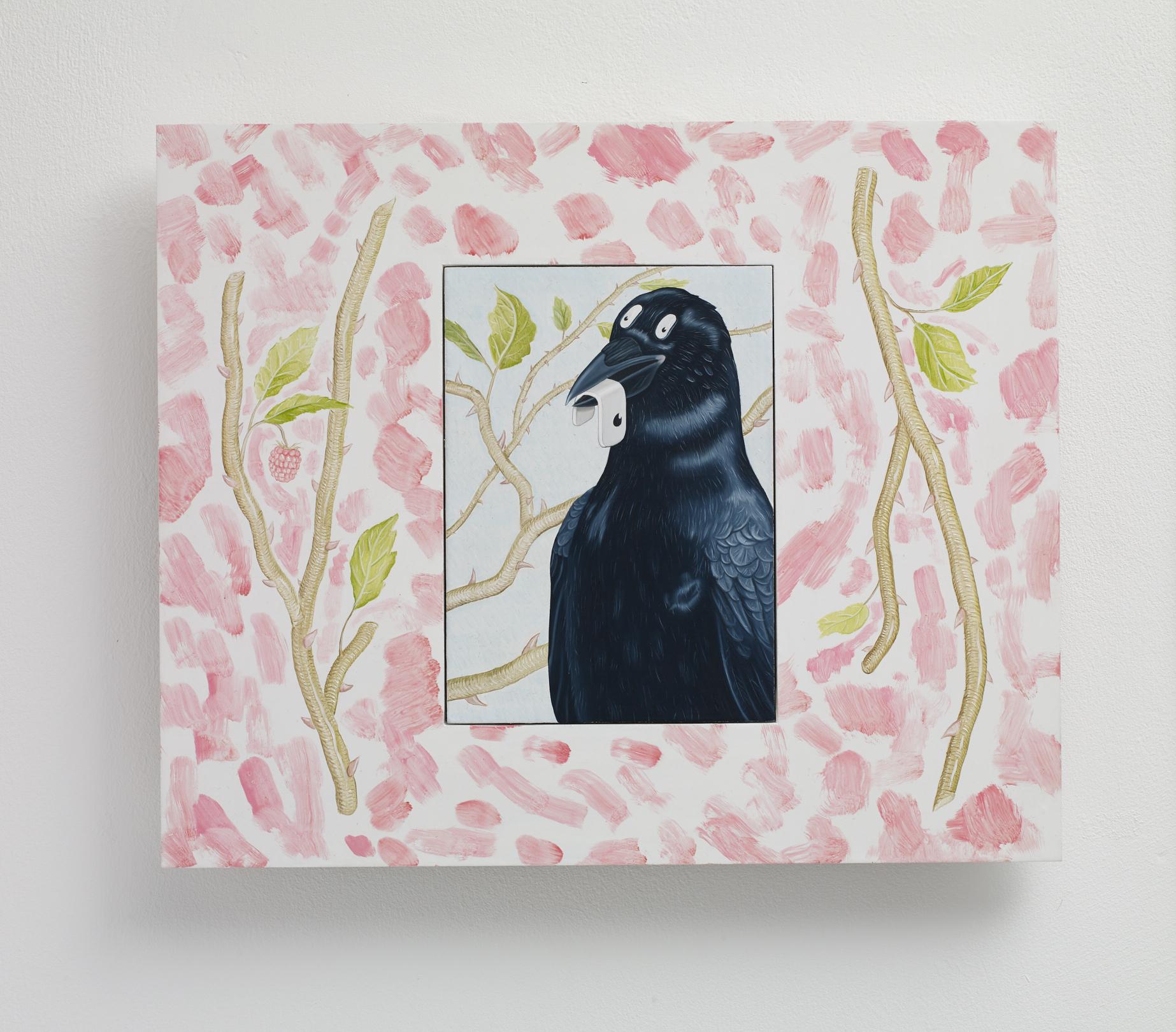Tristan Pigott  Crow with Eye , 2019 oil on board 31.5 x 26 cm framed 16 x 11.5 unframed