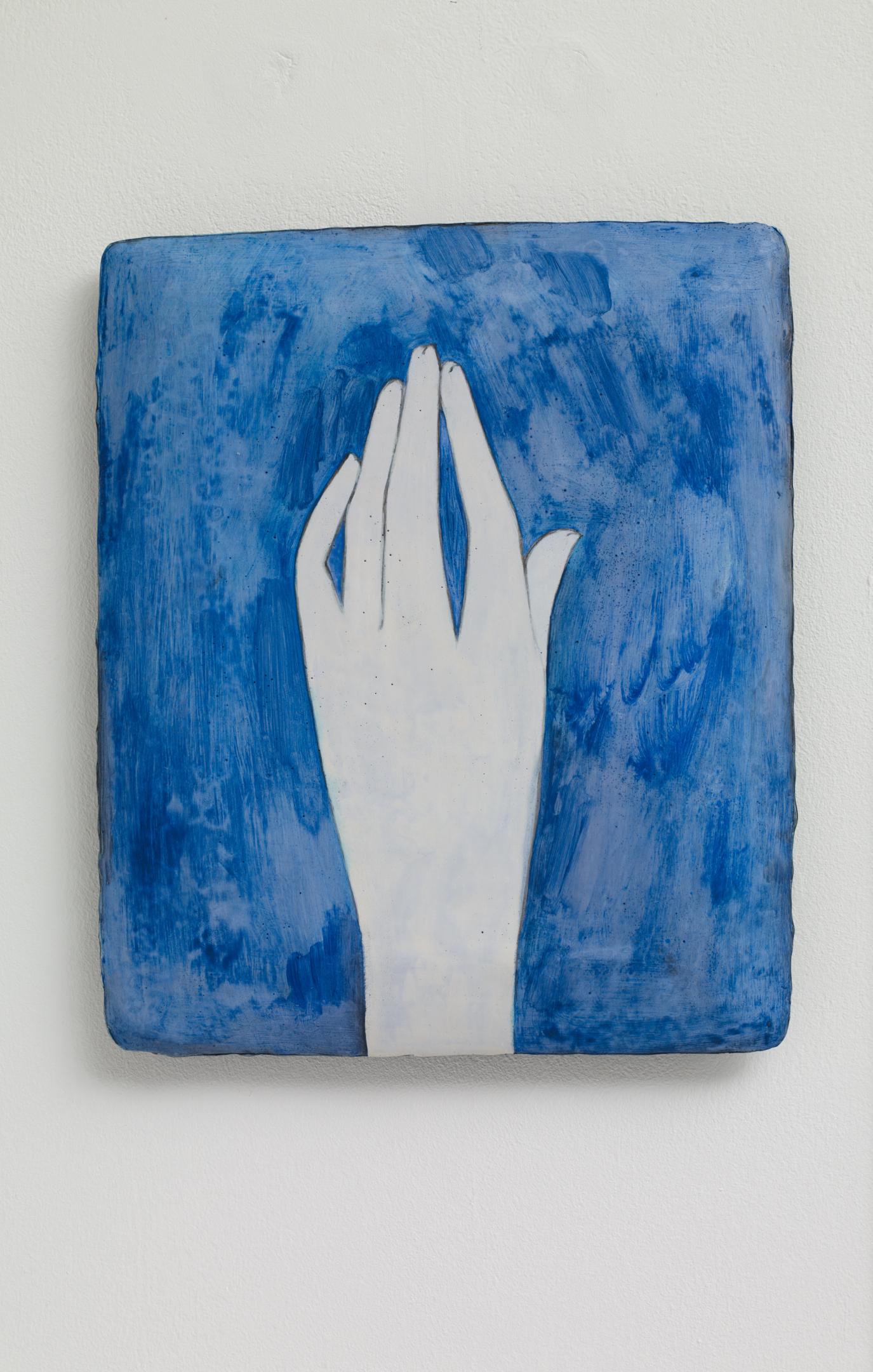 Nina Royle  Lazuli , 2019 Genuine ultramarine (lazurite), linseed oil and gesso on a shaped wood panel 23 x 19 cm