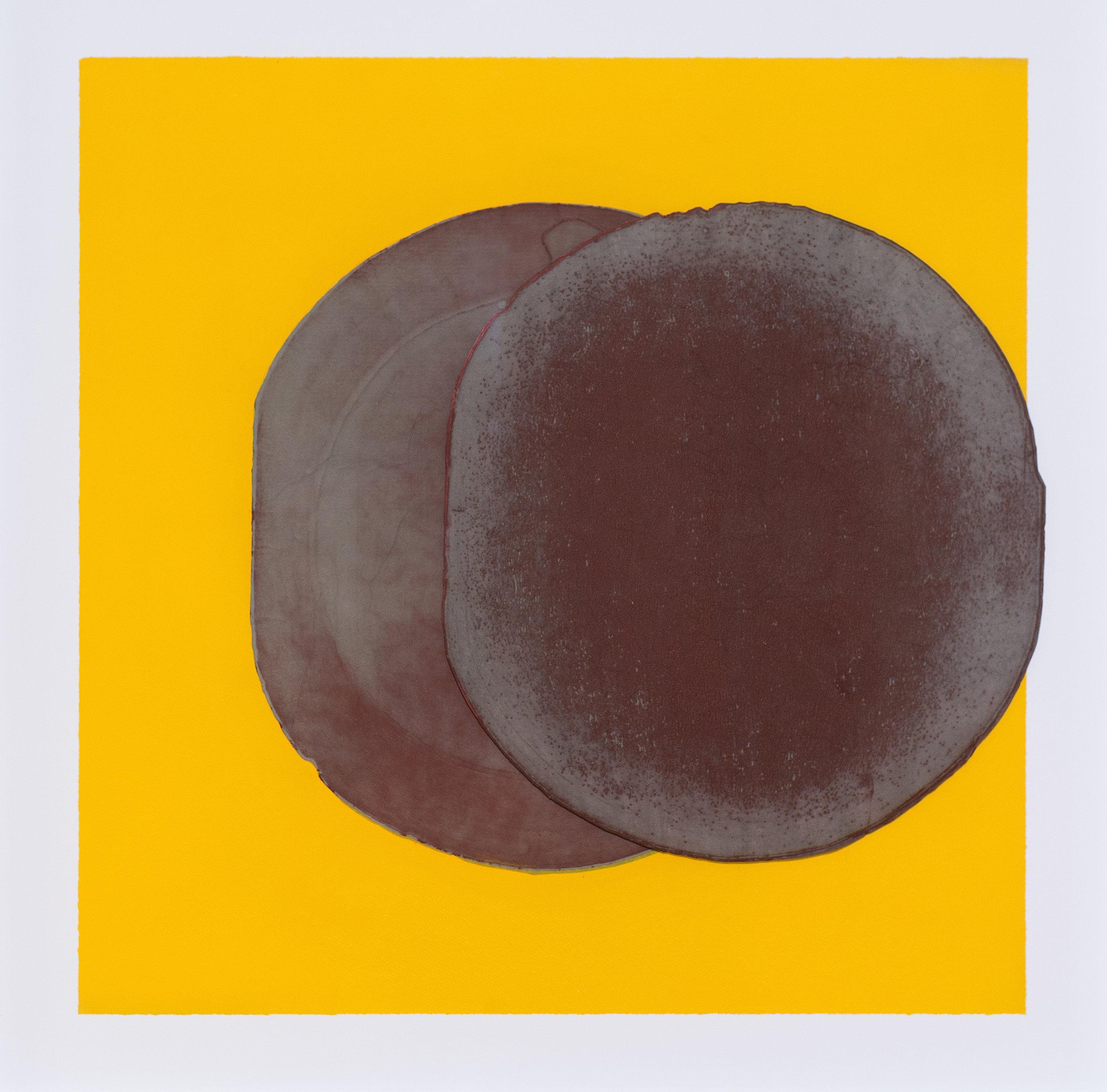 El Anatsui  Sage Grey Eclipse , 2016 Intaglio print with collage and chine-collé 98.5 x 98.5 cm Edition 1/3