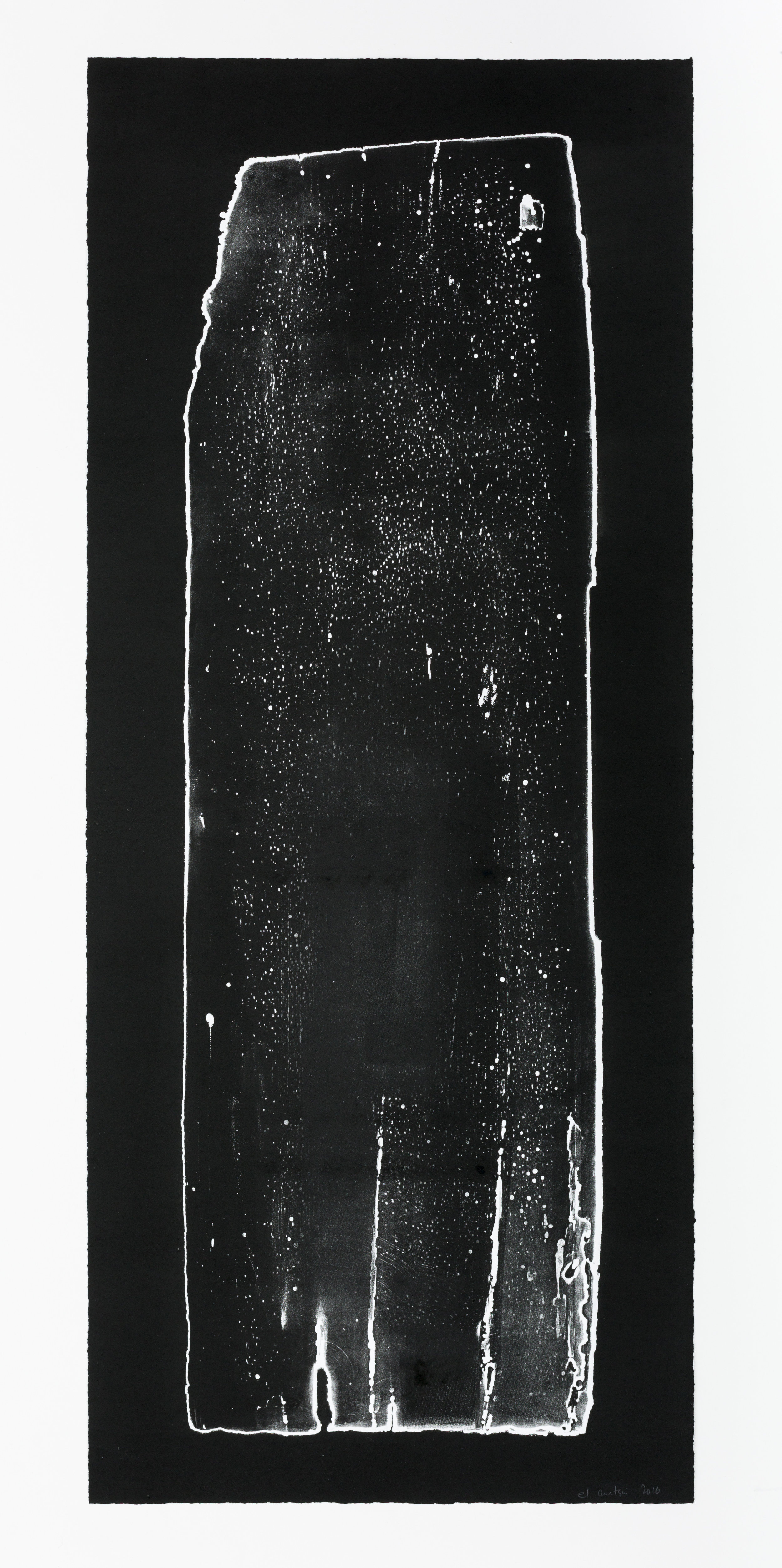 El Anatsui  Untitled (from the Black and White Series ), 2016 Ink on Somerset 300gsm paper 105 x 42.2 cm Edition 1/3