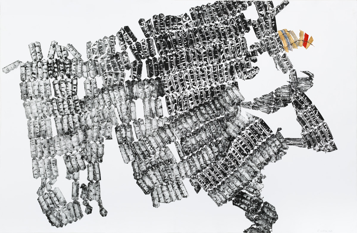 El Anatsui  Untitled (from the Sculpture Print Series) , 2016 Ink on Somerset 300gsm paper with aluminium appliqué 154.5 x 100 cm Edition 1/3