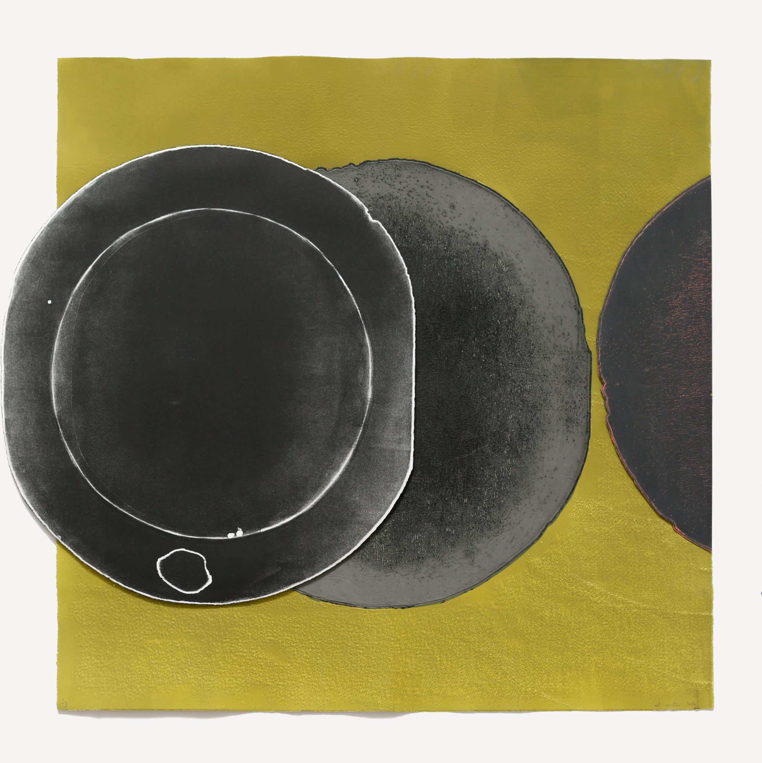 El Anatsui  Sage Grey Eclipse,  2016 Intaglio print with collage and chine-collé 98.5 x 98.5 cm Edition 1/3