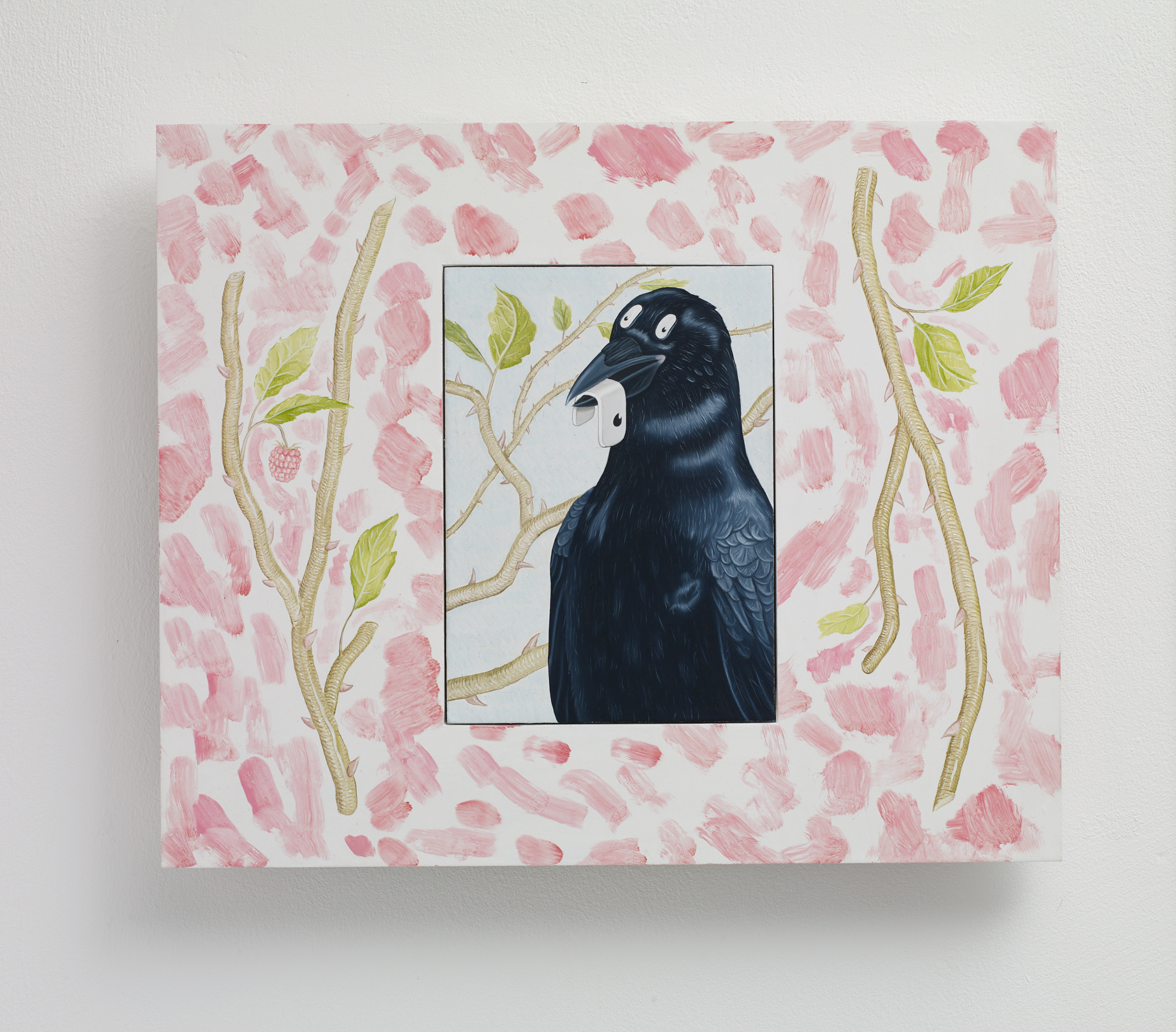 Tristan Pigott  Crow with Eye,  2019 Oil on board 31.5 x 26 cm framed 16 x 11.5 unframed