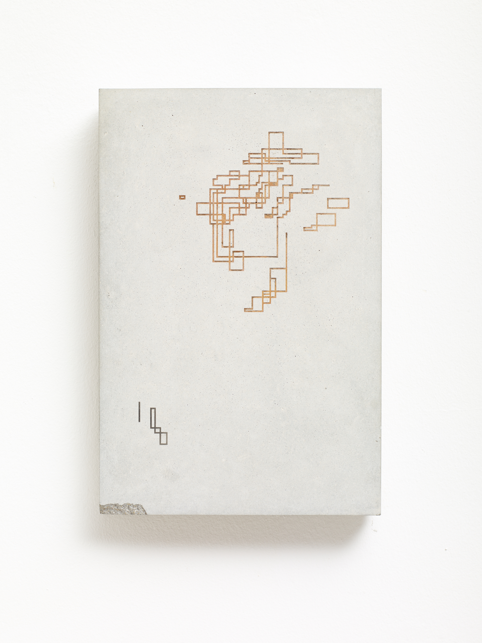 Victor Seaward  Structures , 2018 Rust and smoke residue on cast concrete panel 23.5 x 16 cm
