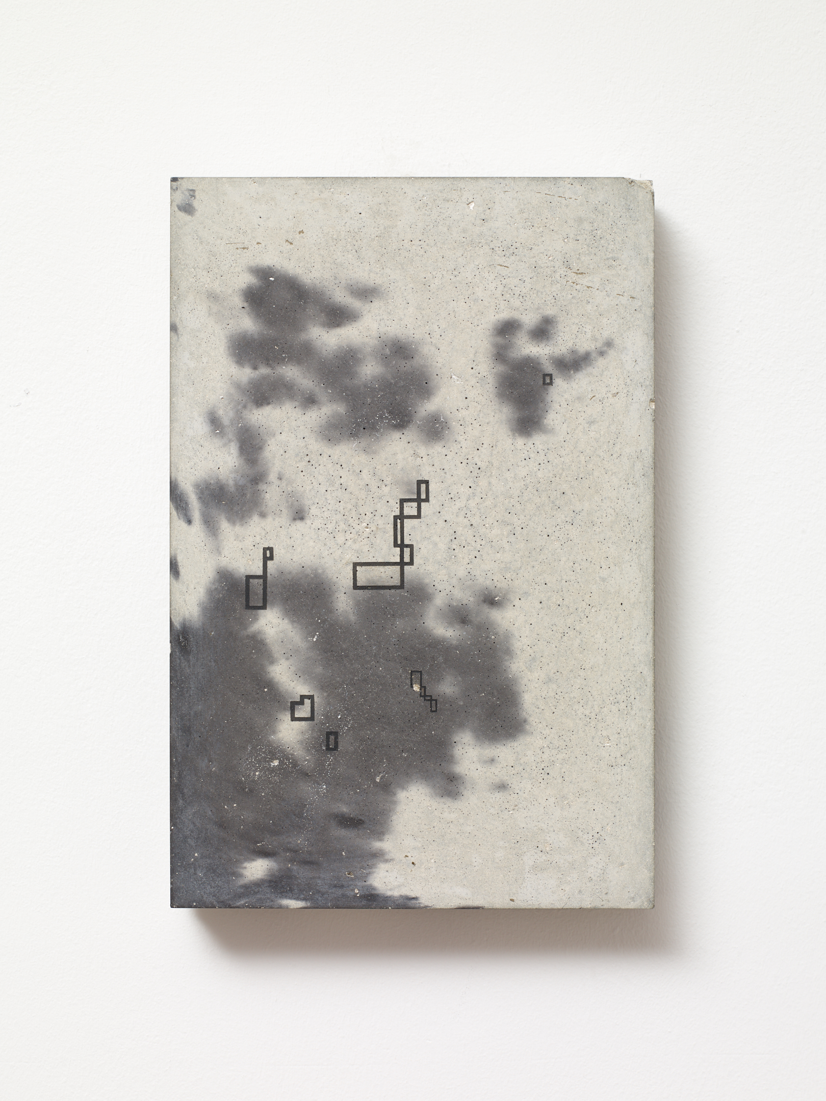 Victor Seaward  Clouds , 2018 Smoke residue on cast pigmented concrete panel 23.5 x 16 cm
