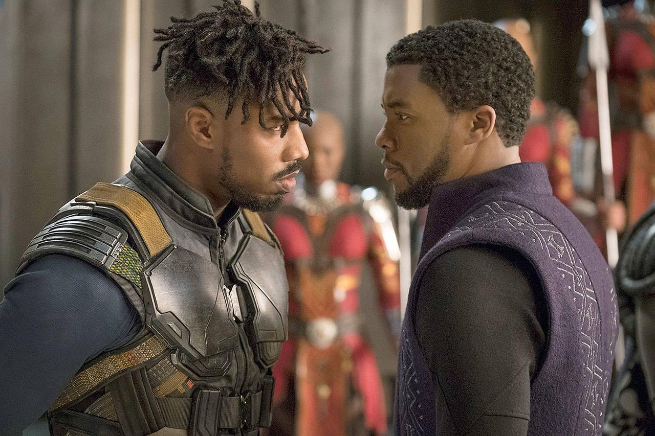 "Killmonger (Michael B. Jordan) and T'Challa (Chadwick Boseman) face off in director Ryan Coogler's ""Black Panther."" Photo: Disney/Marvel 2018"