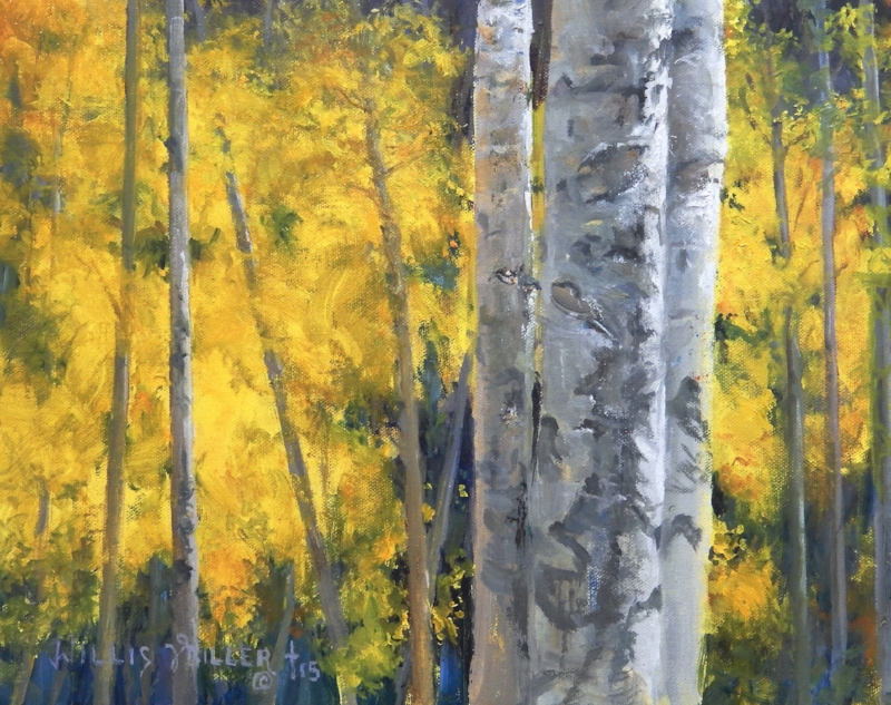 """Persevered, 11"""" x 14"""", oil. This image was seen in Colorado. Aspens are so beautiful on the mountains. My mom at one time lived in Santa Fe overlooking mountains covered with Aspens."""