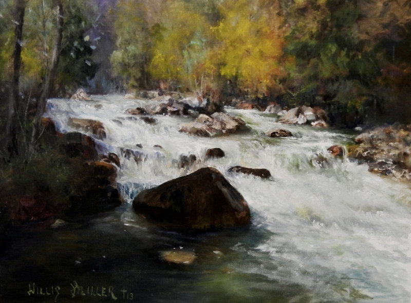 "East Side Of The River, 18"" x 24"", oil.  This image was seen in Austria."
