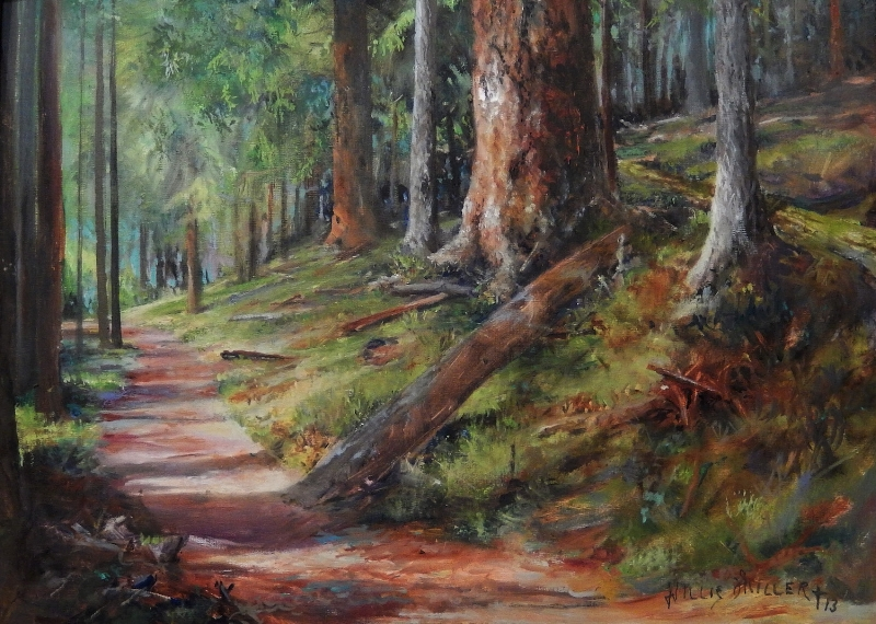 """A Peaceful Path, 18"""" x 24"""", oil. This image was seen when my wife and I were walking a trail on Orca Island."""