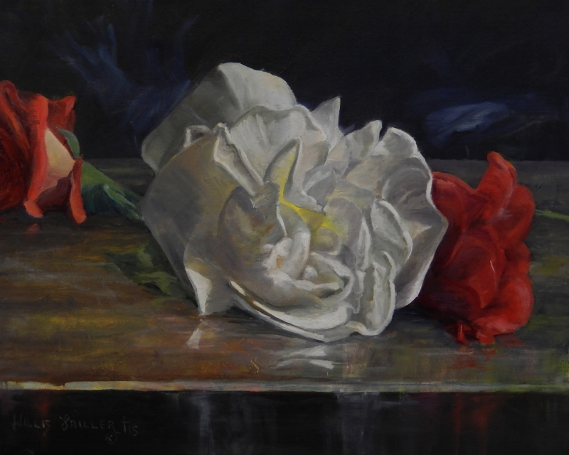 """The Flowers Fall, 16"""" x 20"""", oil. It is less complicated for me painting flowers when defining large shapes first."""