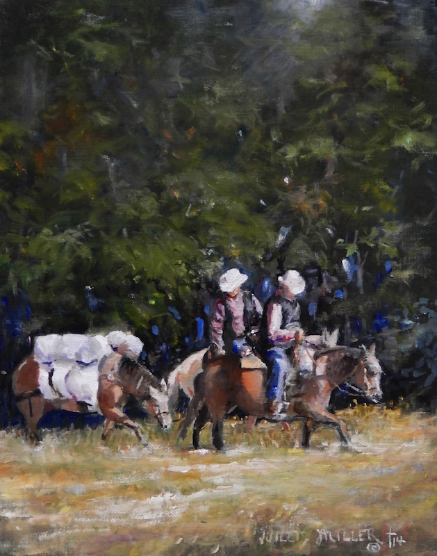 """To The Land, 14"""" x 11"""", oil. I saw this men across the Buffalo River headed into the mountains."""